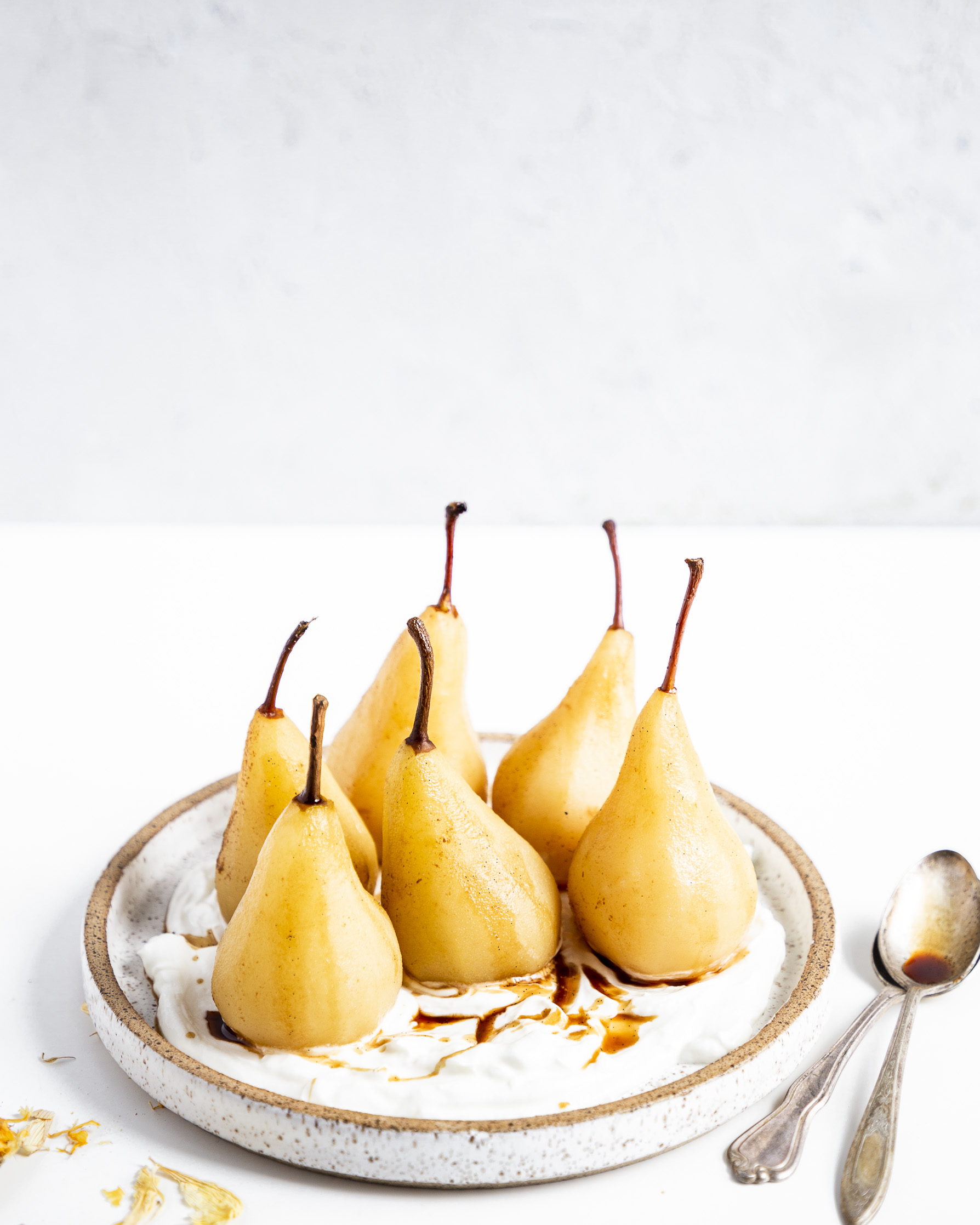 Apple Cider Poached Pear with Vanilla bean and Yogurt