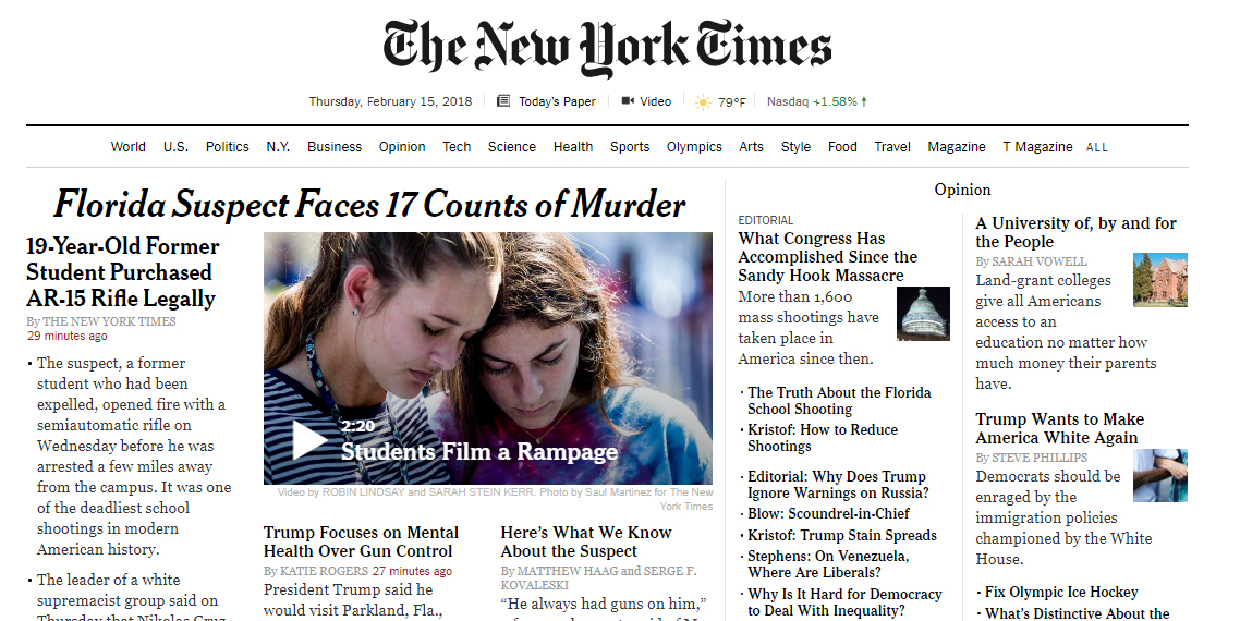 The front page of the New York Times at the time of upload. More than half is dedicated to the shooting, but you can see the cracks of a culture that has experienced far too many of these tragedies without much change.