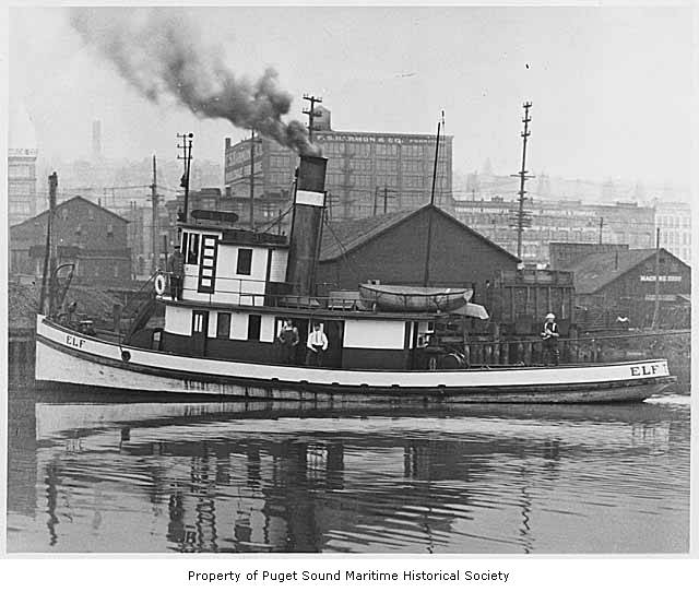 Tug ELF, Tacoma (no date). Courtesy of Puget Sound Maritime Historical Society and Mike Skalley