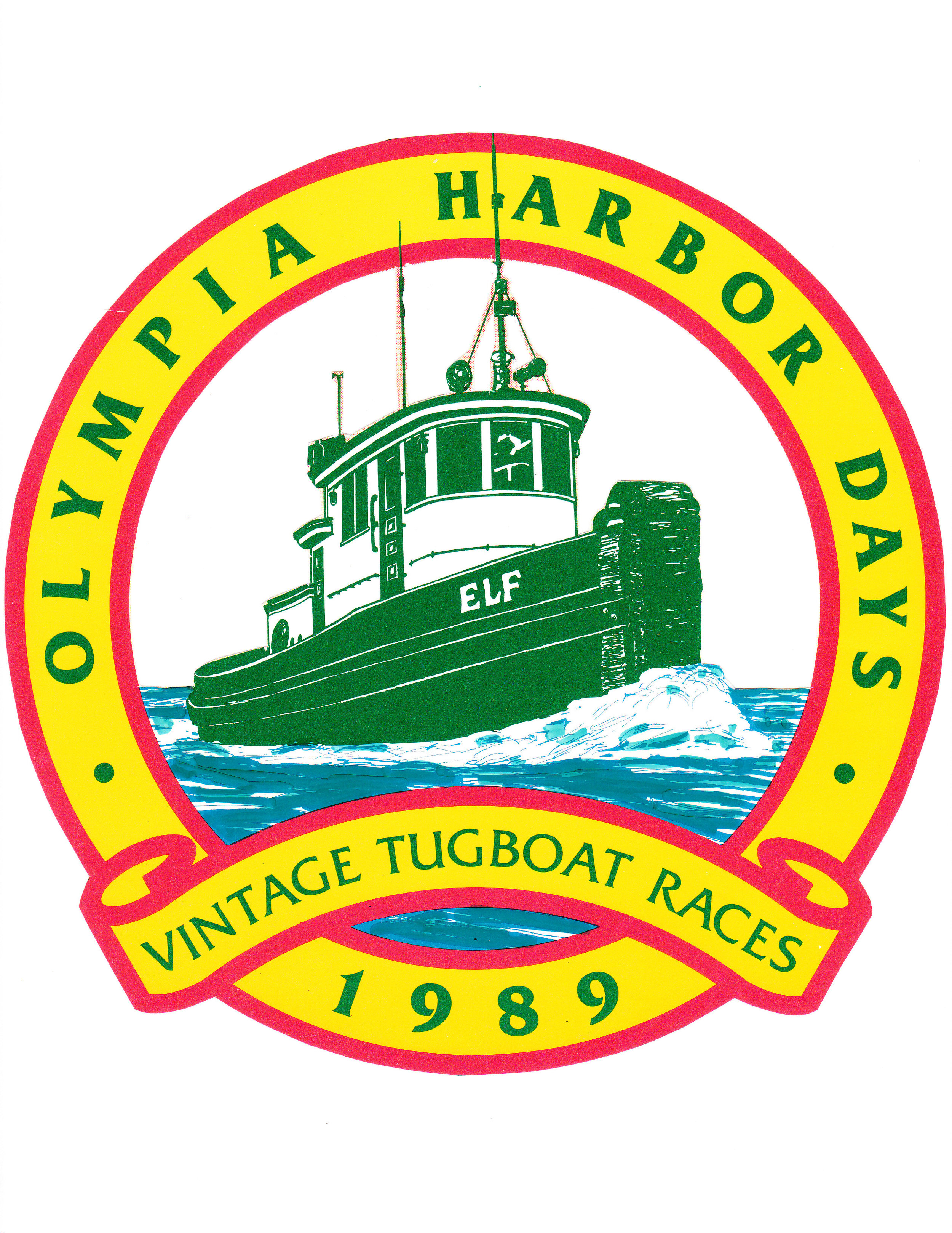 1989 Olympia Harbor Days Logo Featuring Tug Elf