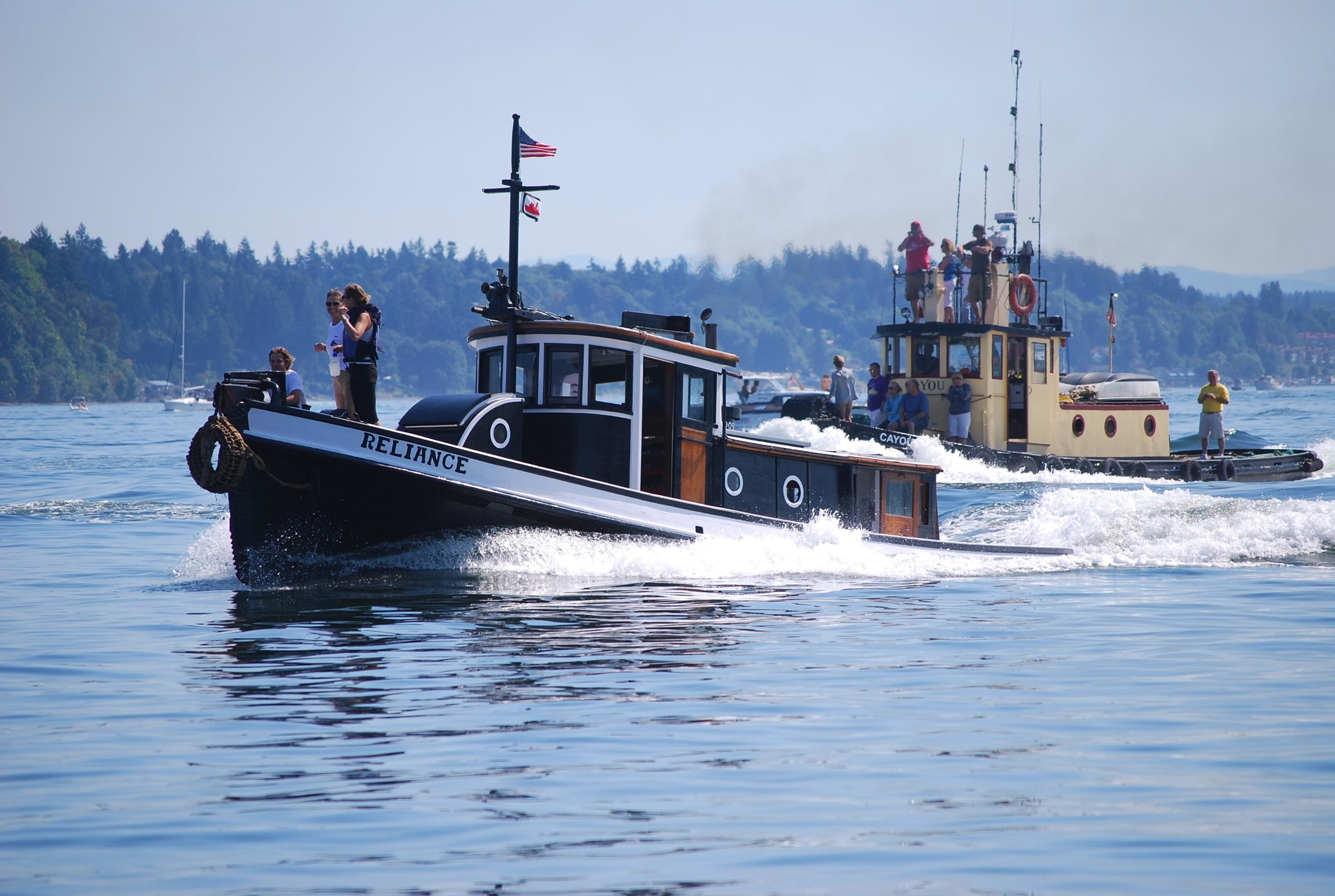 Tug RELIANCE ahead of Tug Cayou at Olympia Harbor Days 2011. Photo courtesy of Karla Fowler