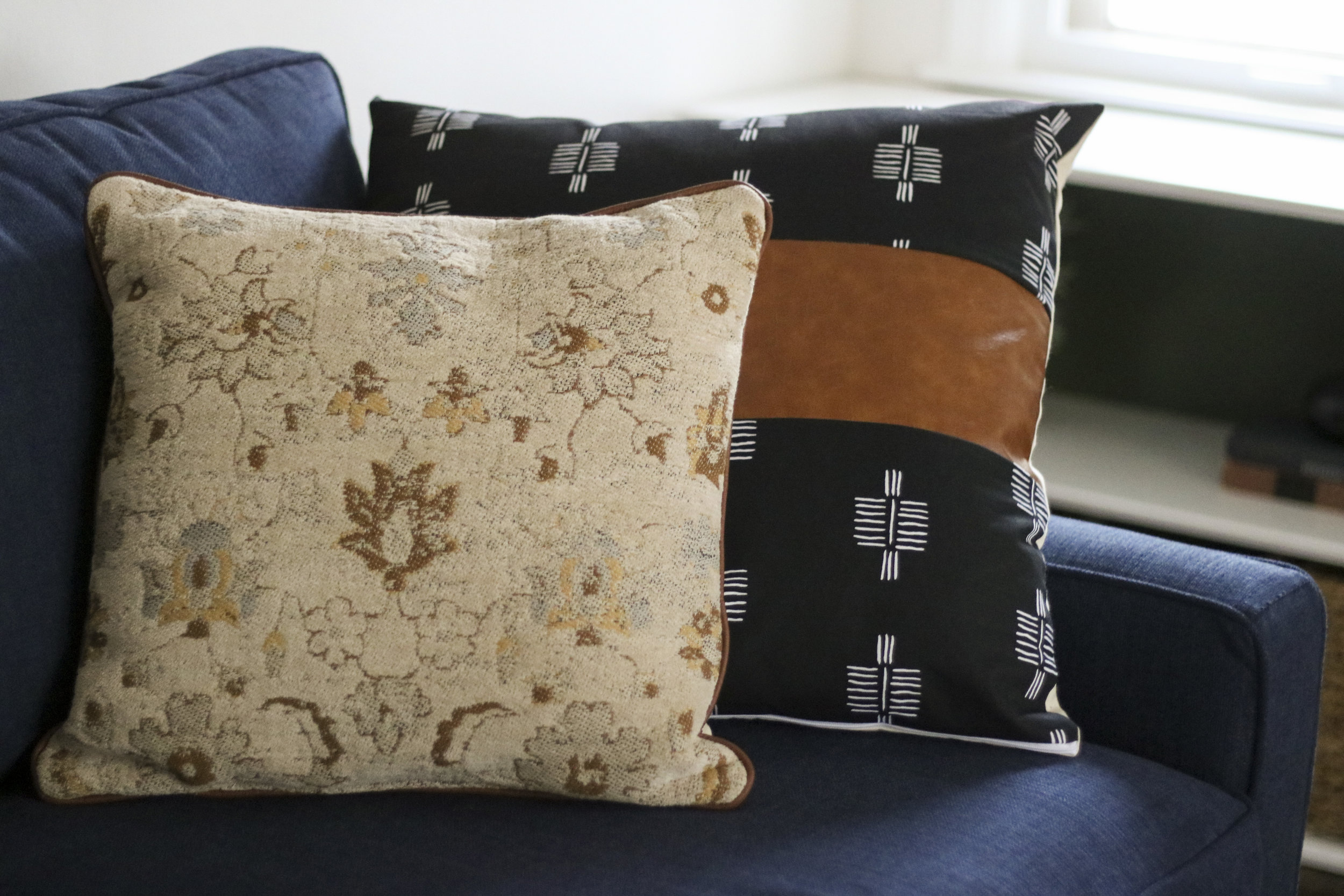 Brown Pillow  |  Black Fabric