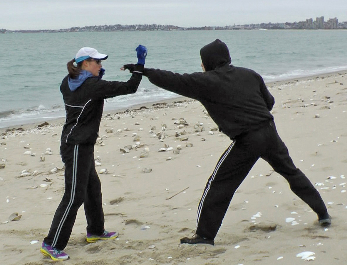 Julie Morrill training on Revere Beach with Alpha Krav Maga Boston  Photo credit: Robert McDonald