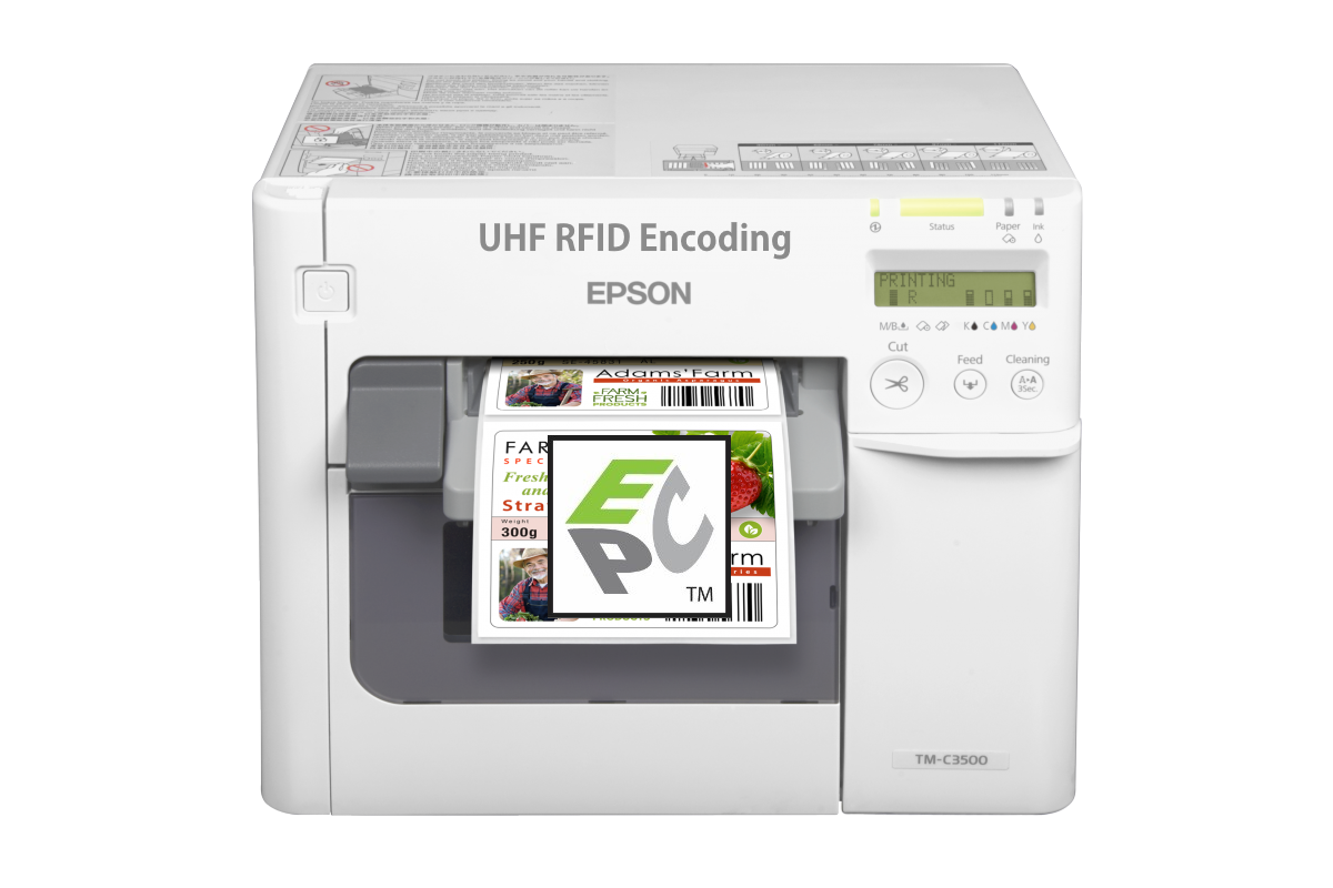 UHF RFID Encoder for Epson TM-3500 - Epson TM-3500 with Flexstr8 Snap-On NFC Encoder:Start printing RFID Labels today