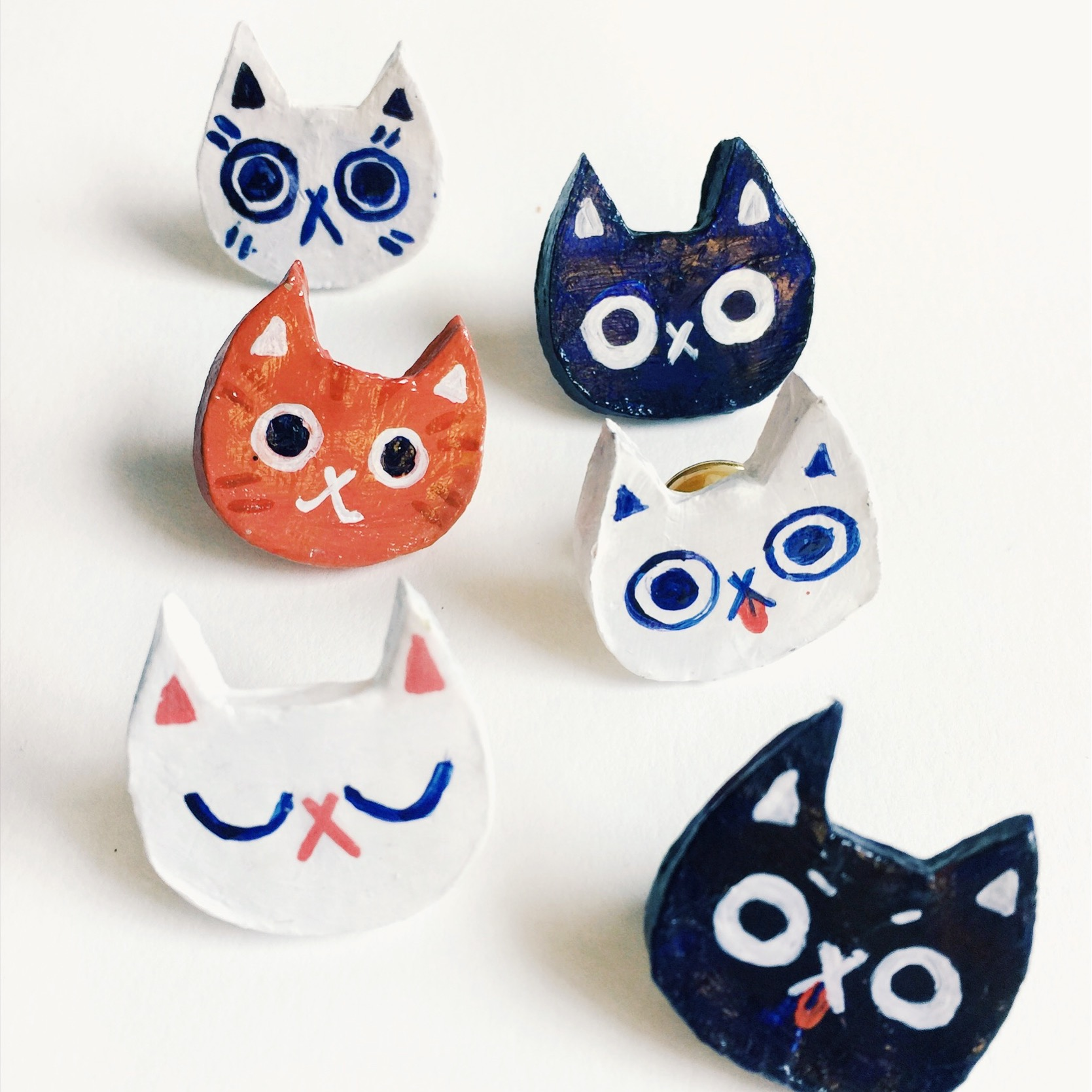 Cat Pins, Polymer Clay with Acrylic Paint, 2018