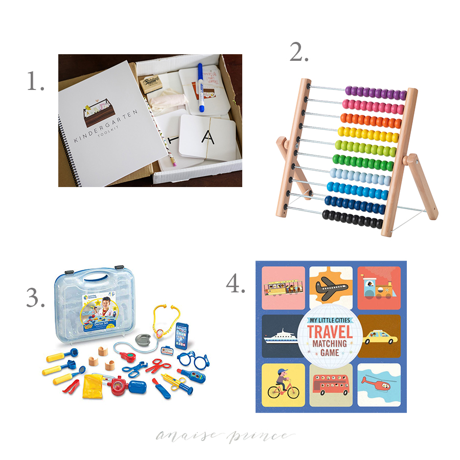 1.  Kindergarten Toolkit   We are one year away from preschool, and only two years away from Kindergarten!!! and even though I'm not trying to push any kind of structured learning on Emerson, I'm always thinking of ways to incorporate learning in to our every day activities. I think this kit would be the perfect way to start integrating the tools necessary for a toddler to help them succeed in school.  2.  Ikea Abacus  *  Great for learning colors and counting.  3.  Doctor Kit  *  I'm a big fan of creative play, so when Toys R US went out of business, I jumped at the opportunity to add a few new items to her toy collection, mainly things that would help expand her imagination. I left the store with a doctor kit, a cape & mask and a baby stroller. Out of those three items, she plays with the doctor kit the most, making sure her babies, friends and parents are in perfect health.  4.  My Little Cities Travel Matching Game   We haven't yet introduced Emerson to matching, but I would love to start soon. This set seems like it would be a lot of fun.