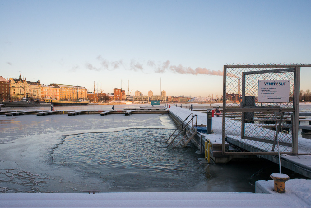 I don't have a picture of a sauna, so here's a photo from my time in Helsinki, of an ice hole for swimming - brrr!