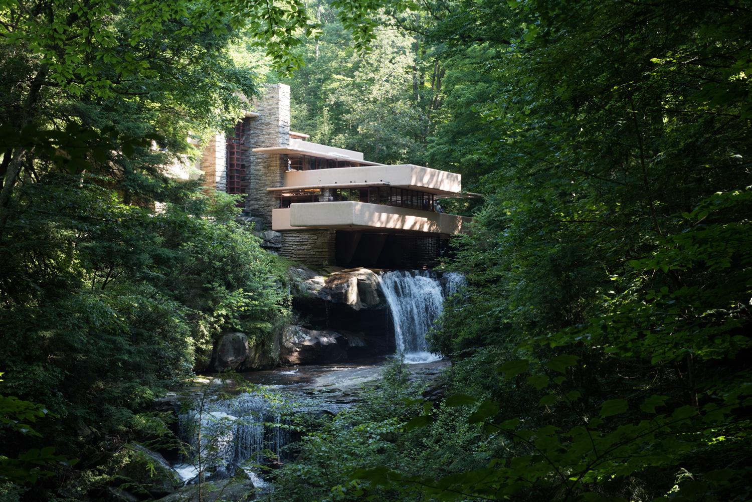 Fallingwater , designed by the legendary architect Frank Lloyd Wright, commissed by the Kaufmann family in 1935, is located in Mill Run, Pennsylvania.