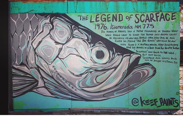"""""""Scarface"""" mural post IRMA, Stained from the sun and surge of the CAT 5 Hurricane !"""
