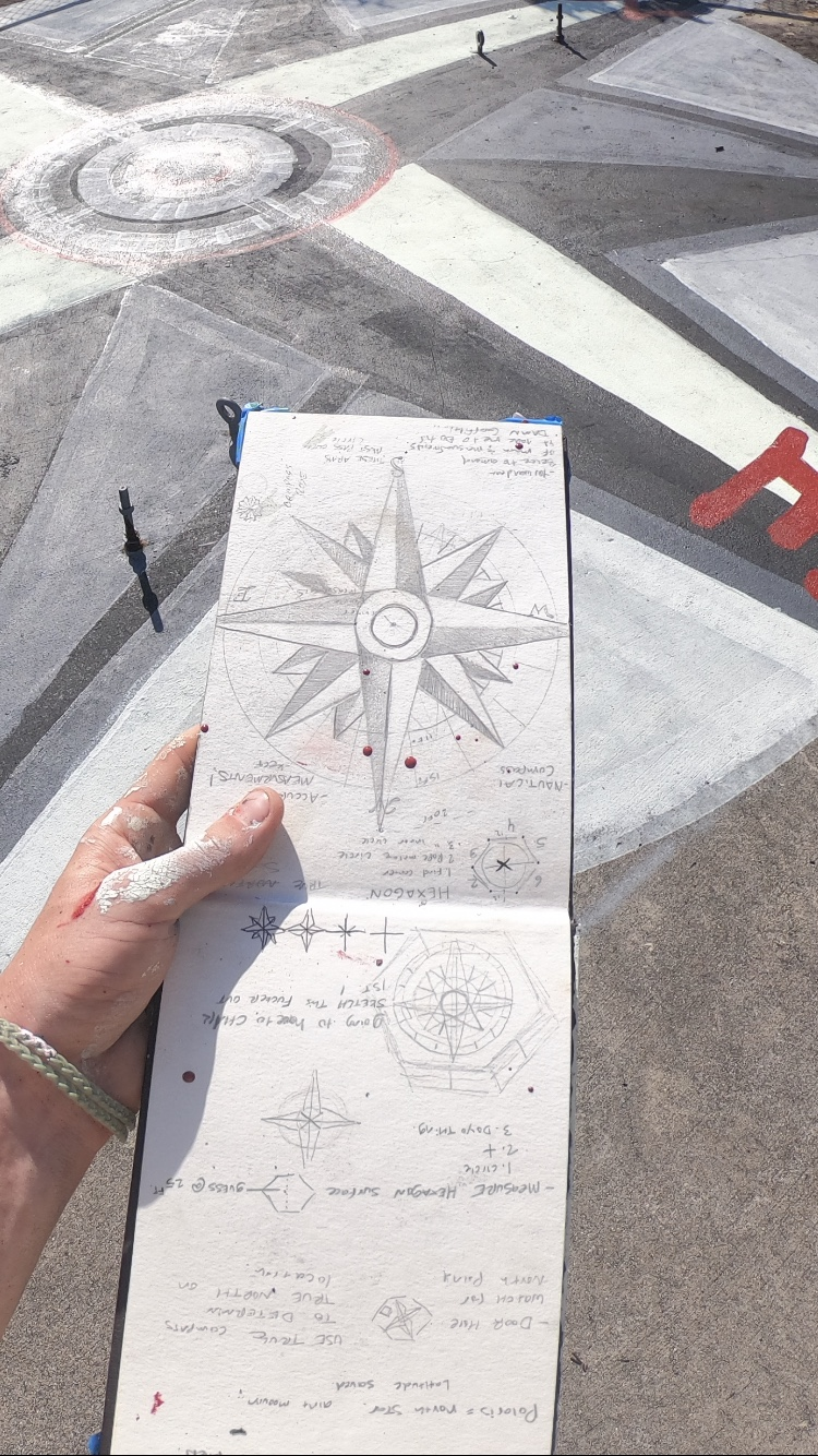 27 ft compass accurately pointing true south.