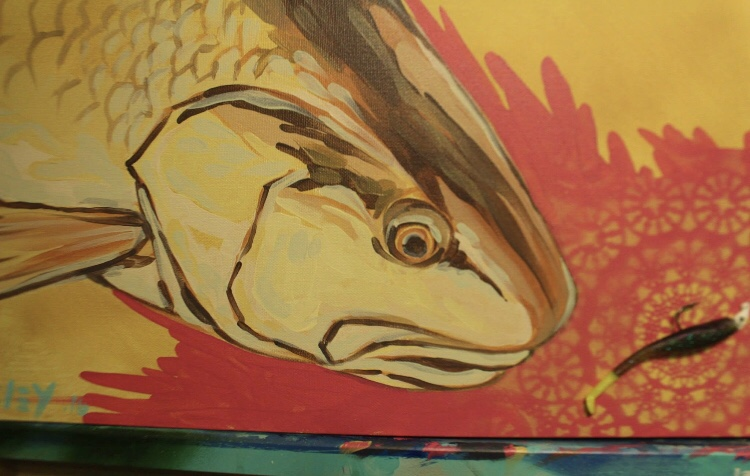 """1x2ft Mixed Media Spray paint, acrylic paint . Soft plastic """"Down South Lures"""" color = Chicken of the sea"""