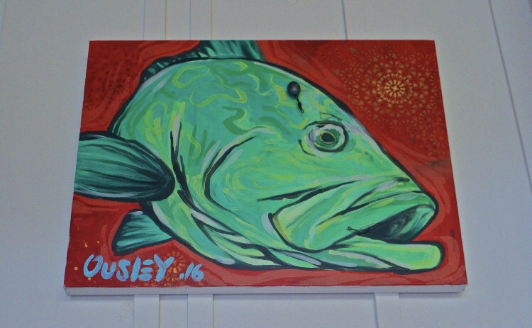 """14""""x16"""" acrylic on canvas .used Grouper rig Hooked in mouth"""