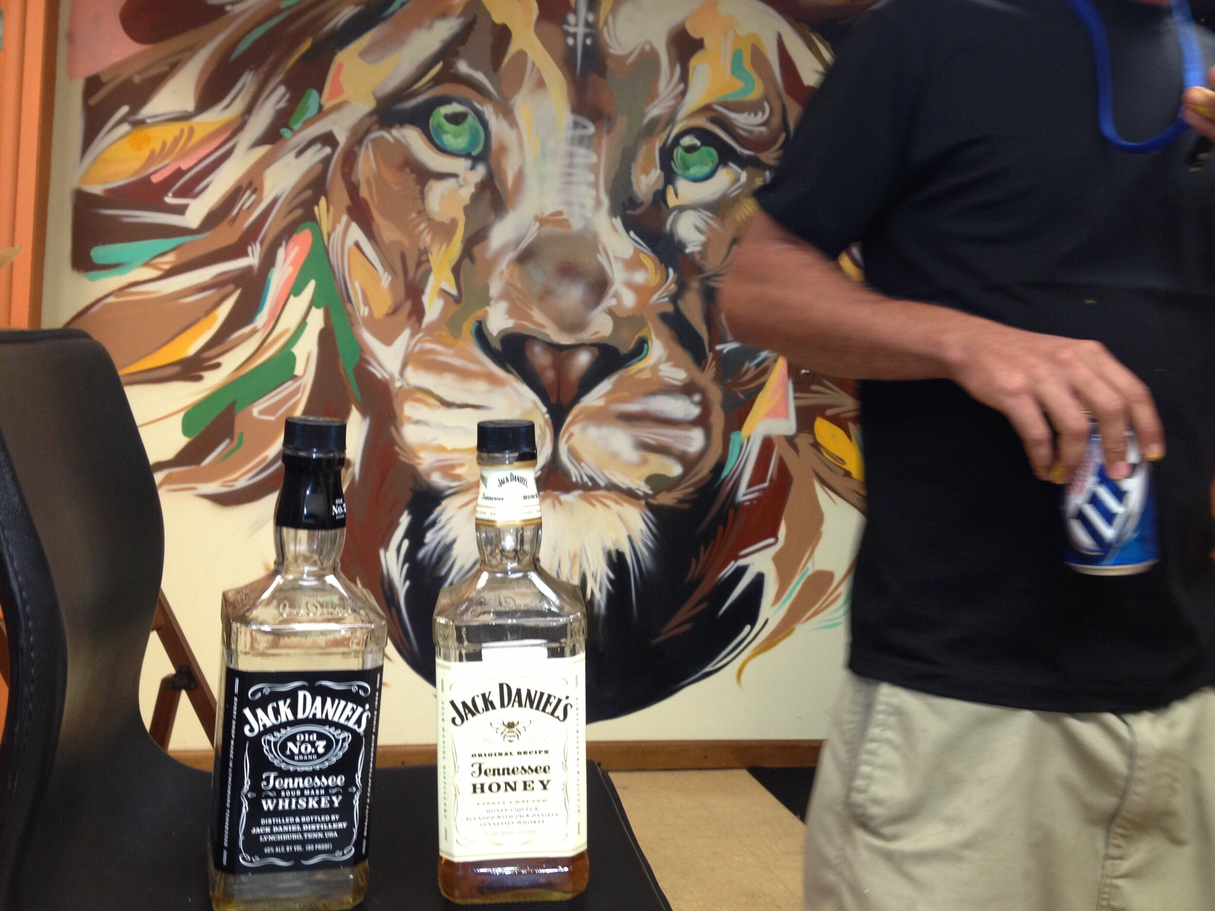 Funny story , we killed the big bottle of jack on the first night painting, everyone was wrecked the next morning….night 2 of the mural someone picks up a second bottle as a joke …… second bottle finished that night also.