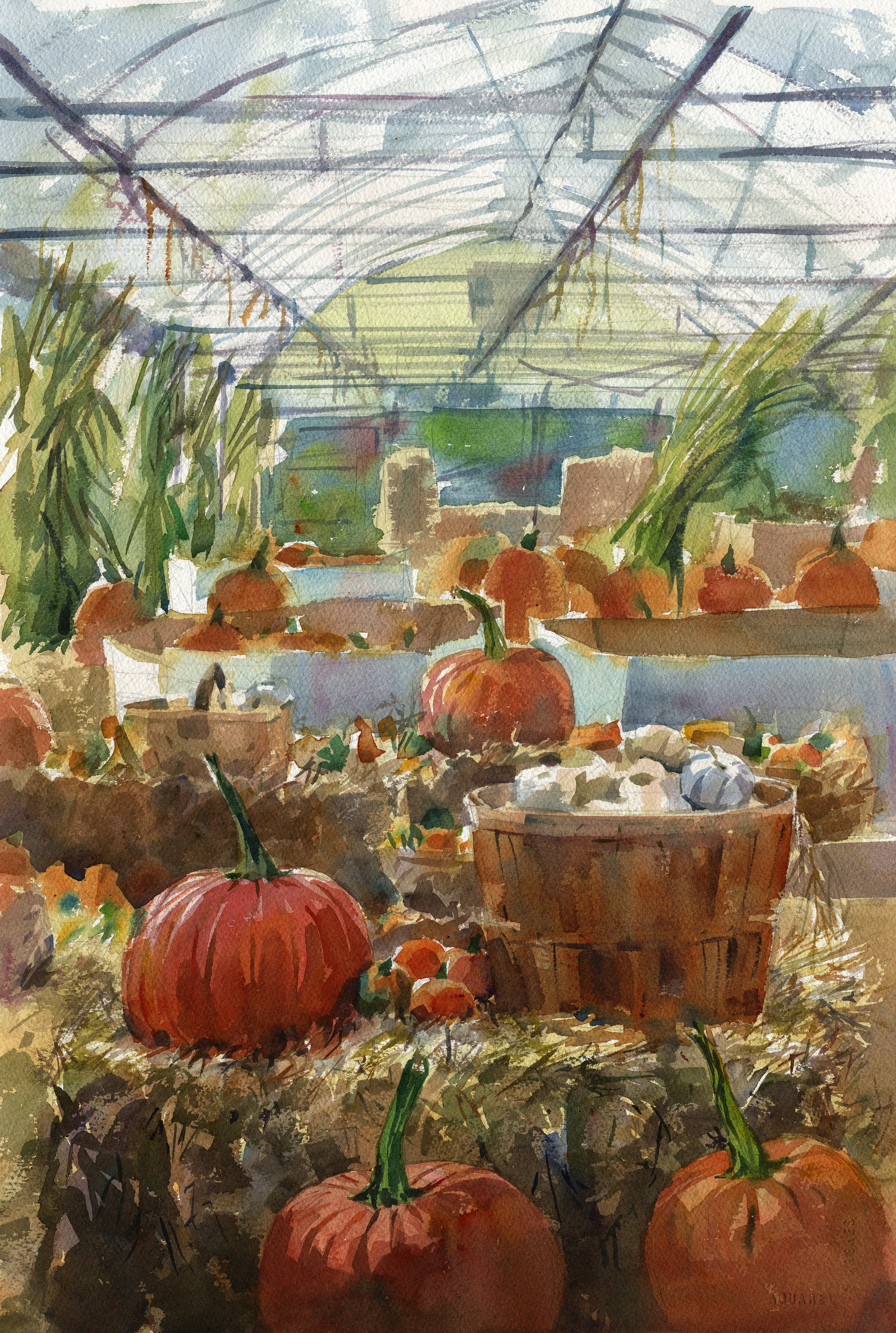 """Pumpkin Time"" (Jones Family Farm, Edgewood, MD) Watercolor on paper, 15"" x 22"", 2017 Sold"