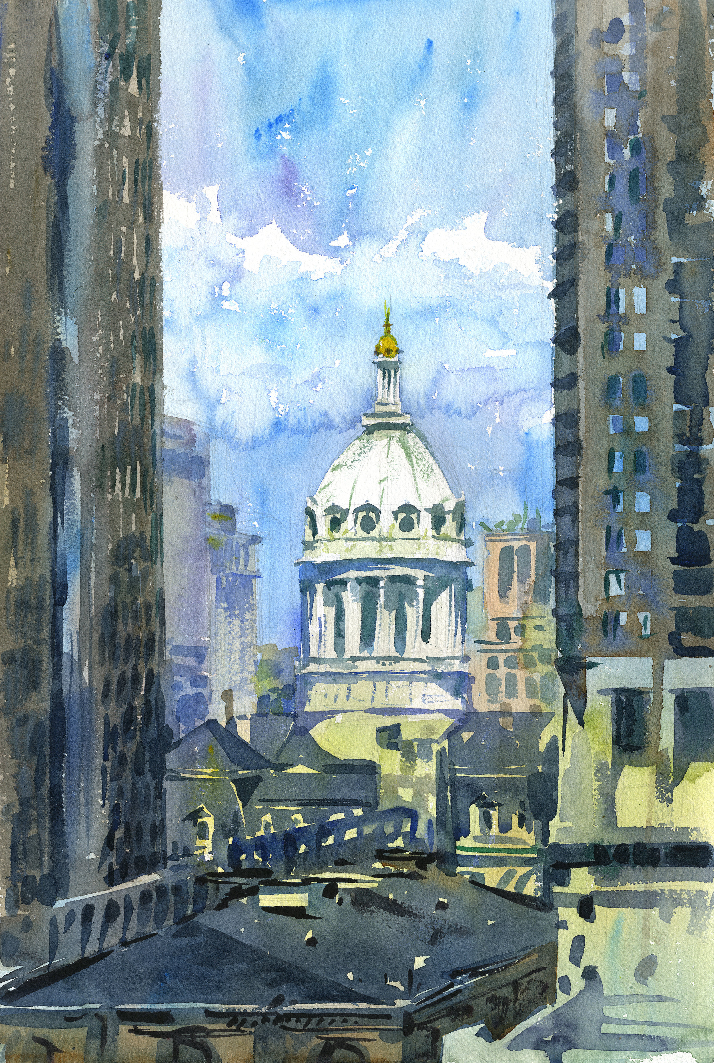 """High Ideals"" (City Hall, Baltimore, MD) Watercolor on paper, 15"" x 22"", 2016 Available-  Purchase in shop."