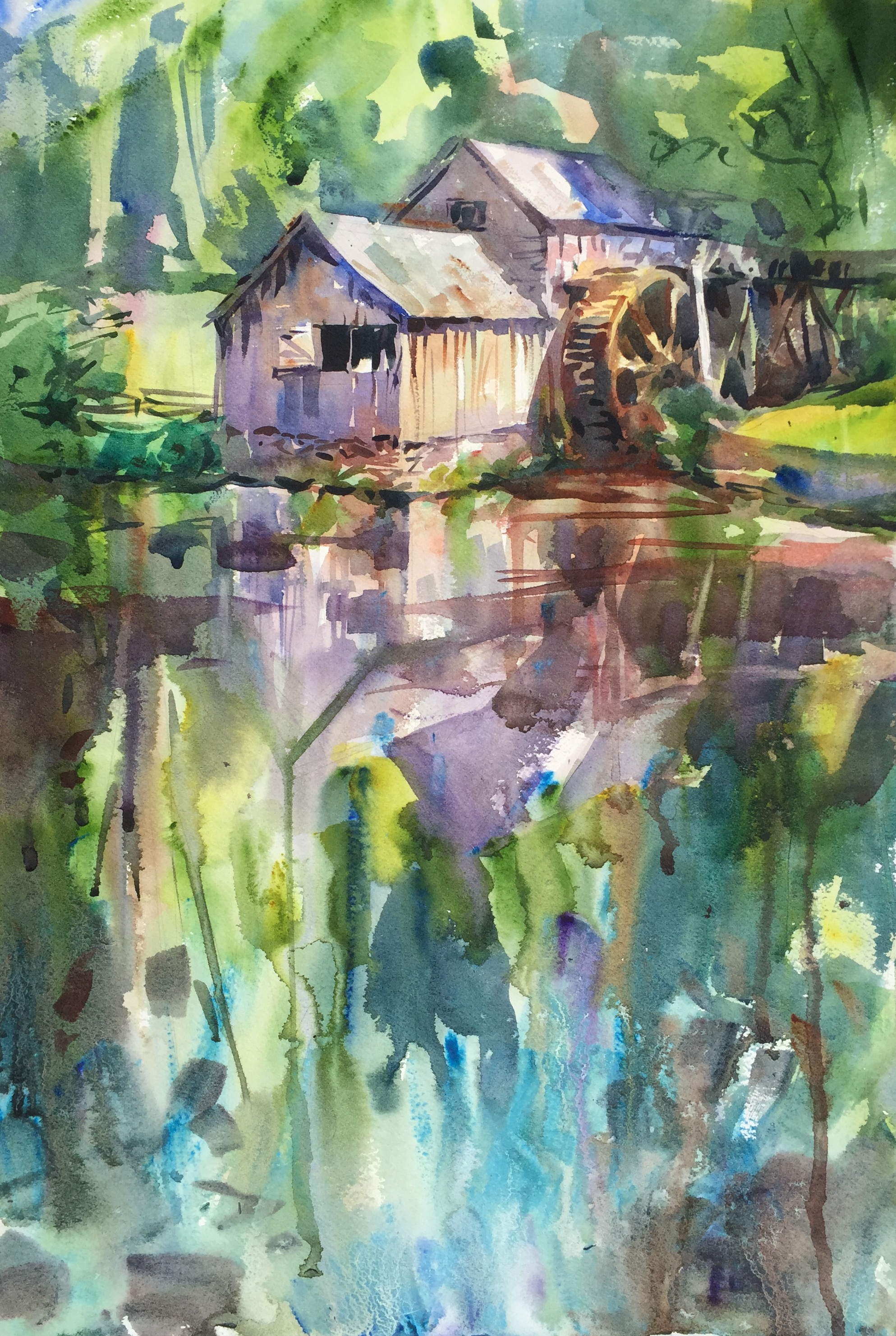 """Ghost"" (Mabry Mill, Blue Ridge Parkway, Floyd, VA) Watercolor on paper, 15"" x 22"", 2017 Sold"