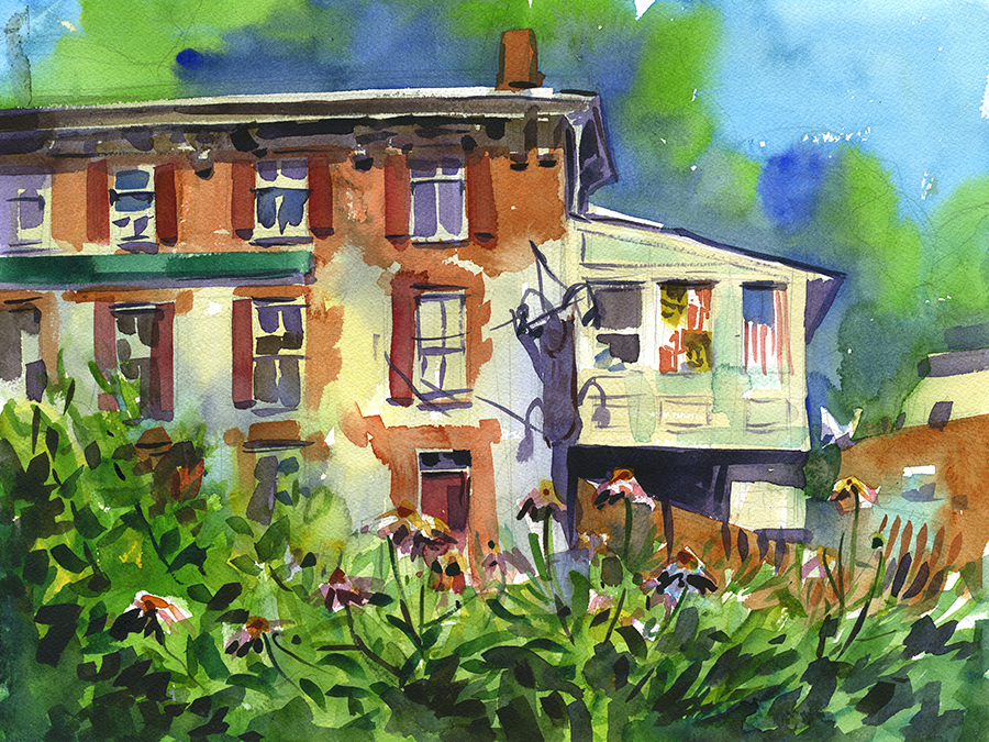"""Flowers and Faded Flags"" (Ellicott City, MD) Watercolor on paper, 12"" x 16"", 2017 Available through  Artists' Emporium  in Havre de Grace, MD"