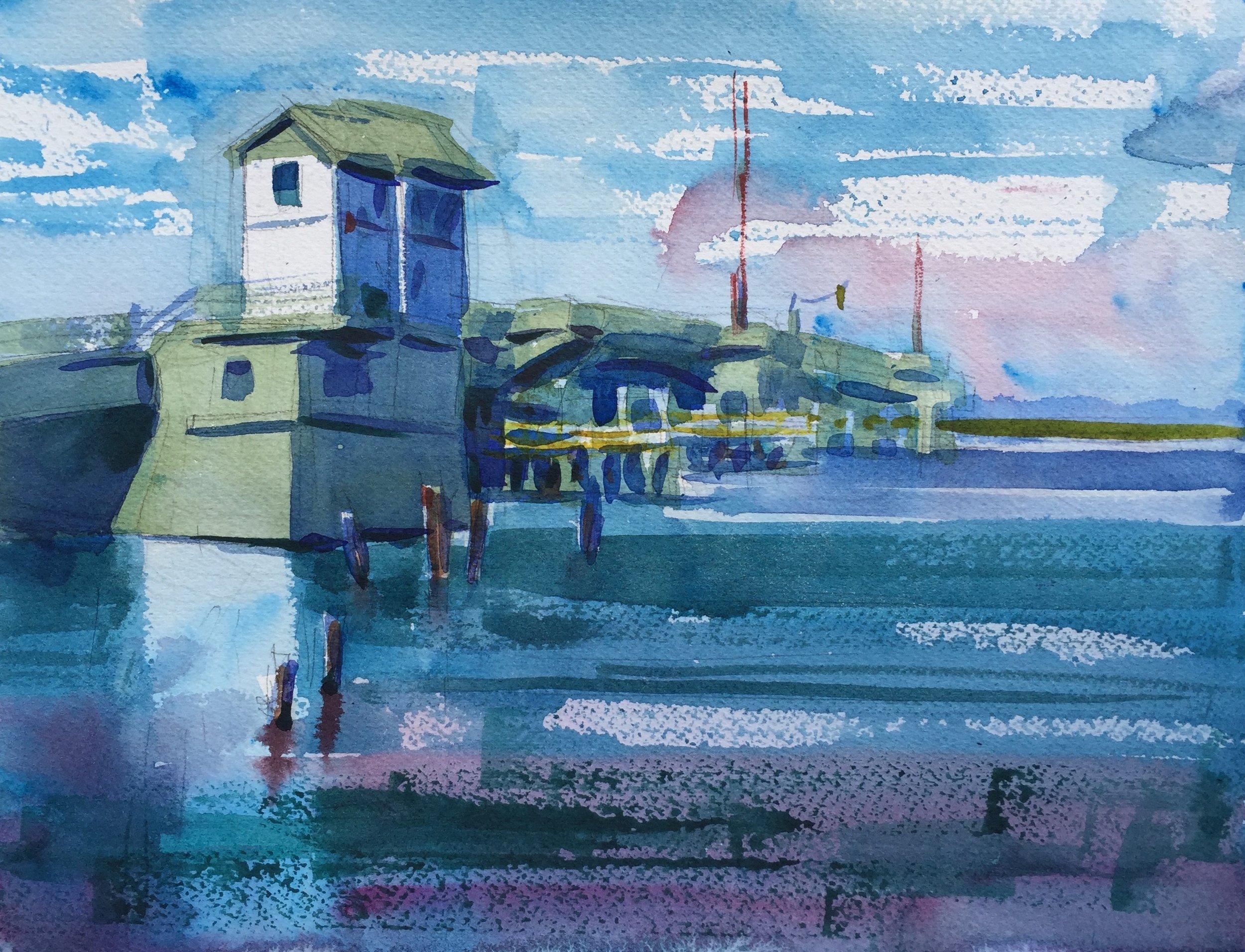 """Gatekeeper"" (Chincoteague, VA) 9"" x 12"", 2016 Sold"