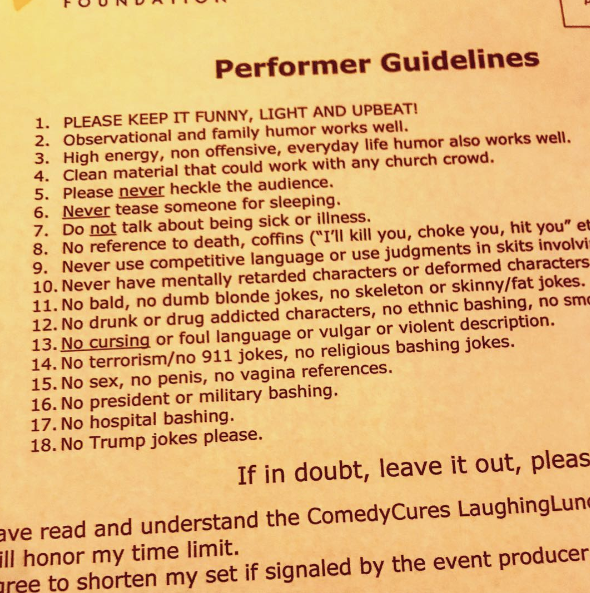 """Performer Guidelines"" - via Mark Normand Instagram"