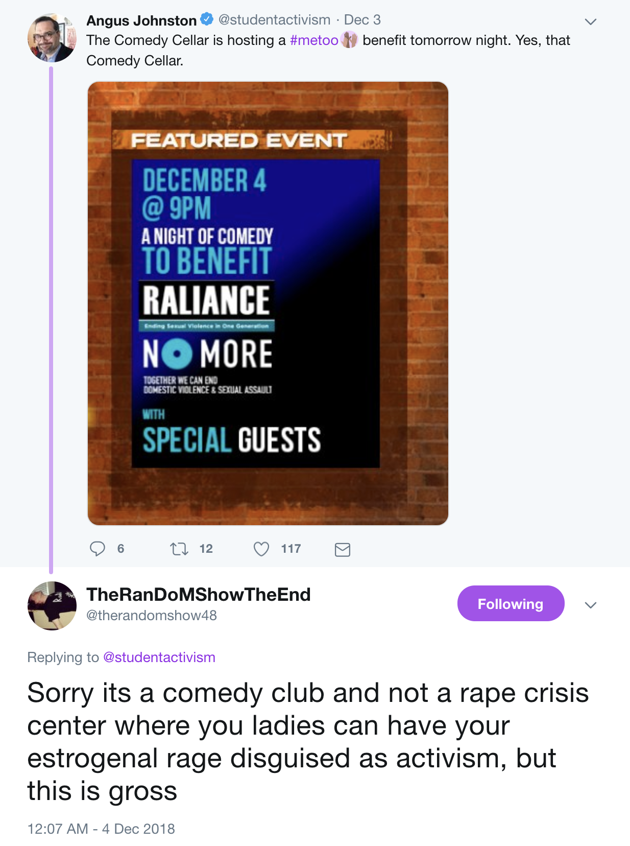 Comedy Cellar Controversy - Via Mark RanDoM twitter