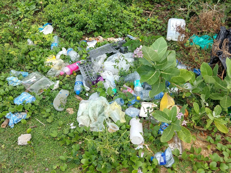 pile of plastic trash near the beach in Sri Lanka