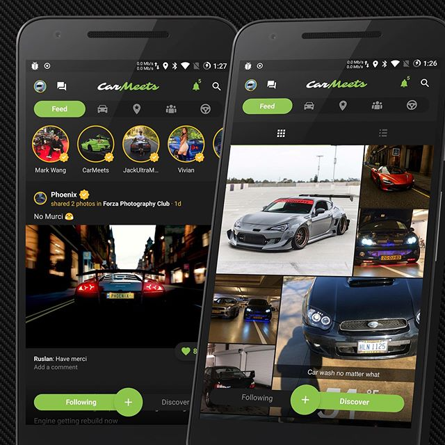New feed style launched on Android! iOS coming soon 👌 The main feed is now your following, and the discover feed has a grid / list view for discovering other users. Let us know what you think! #carmeets #app #download #now