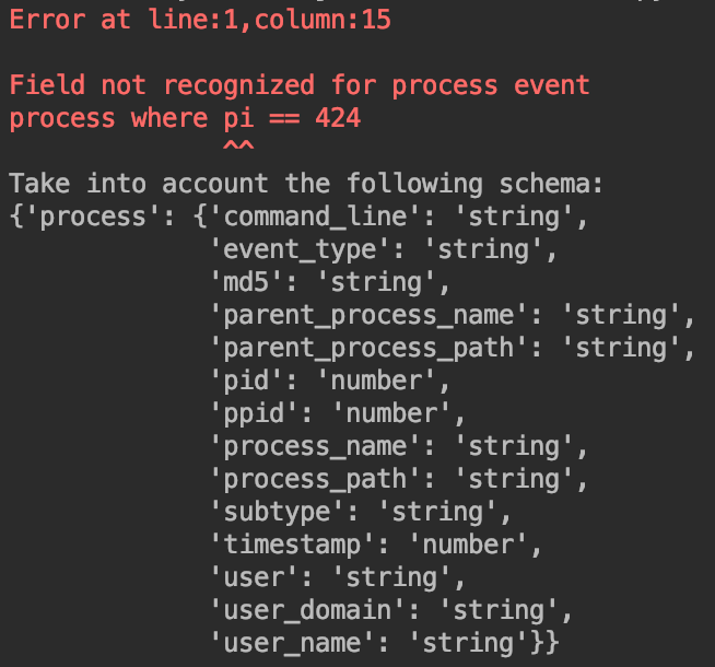 Example EQL syntax error message.