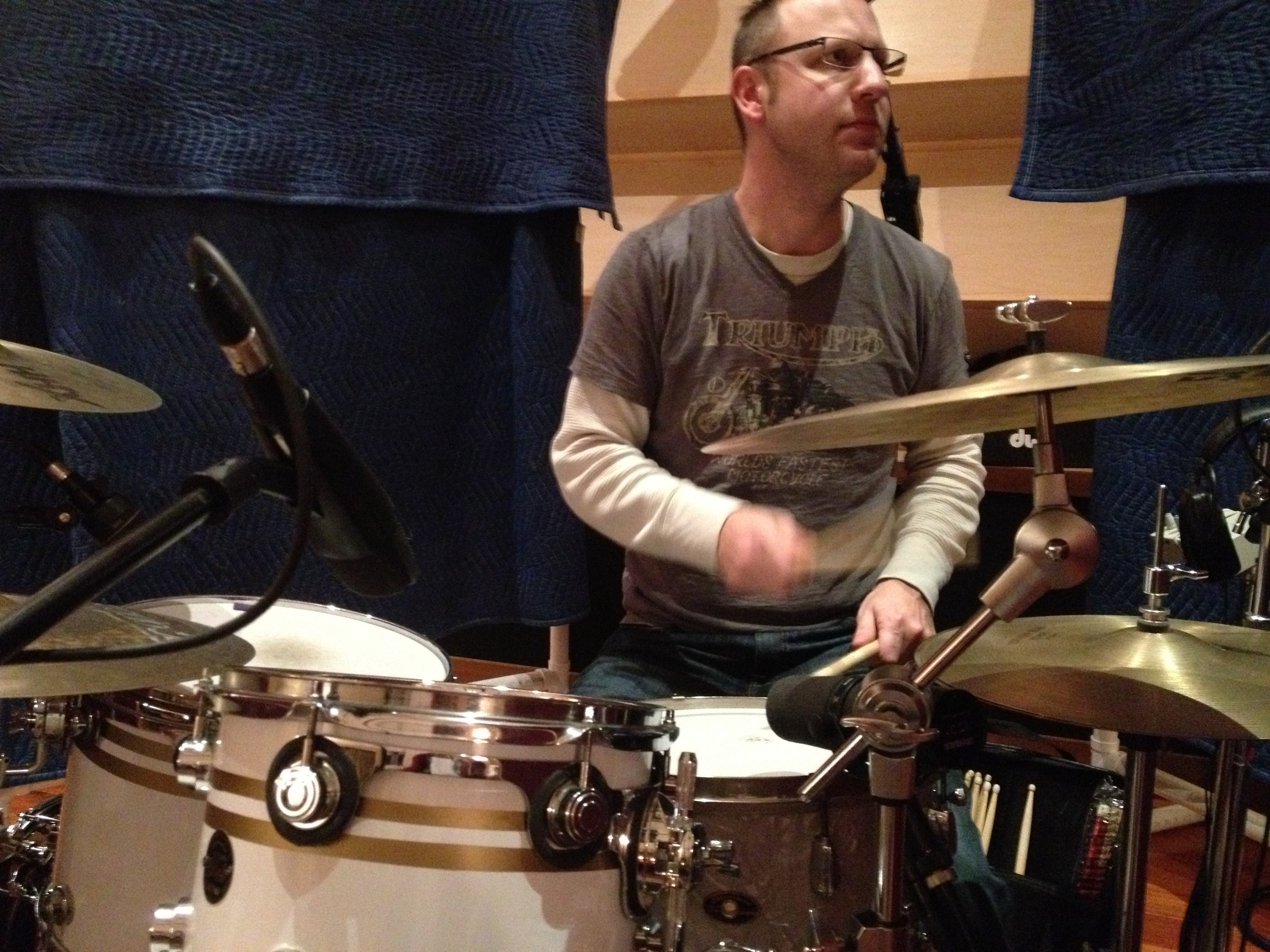 Drummer Eric Wagley in the studio.