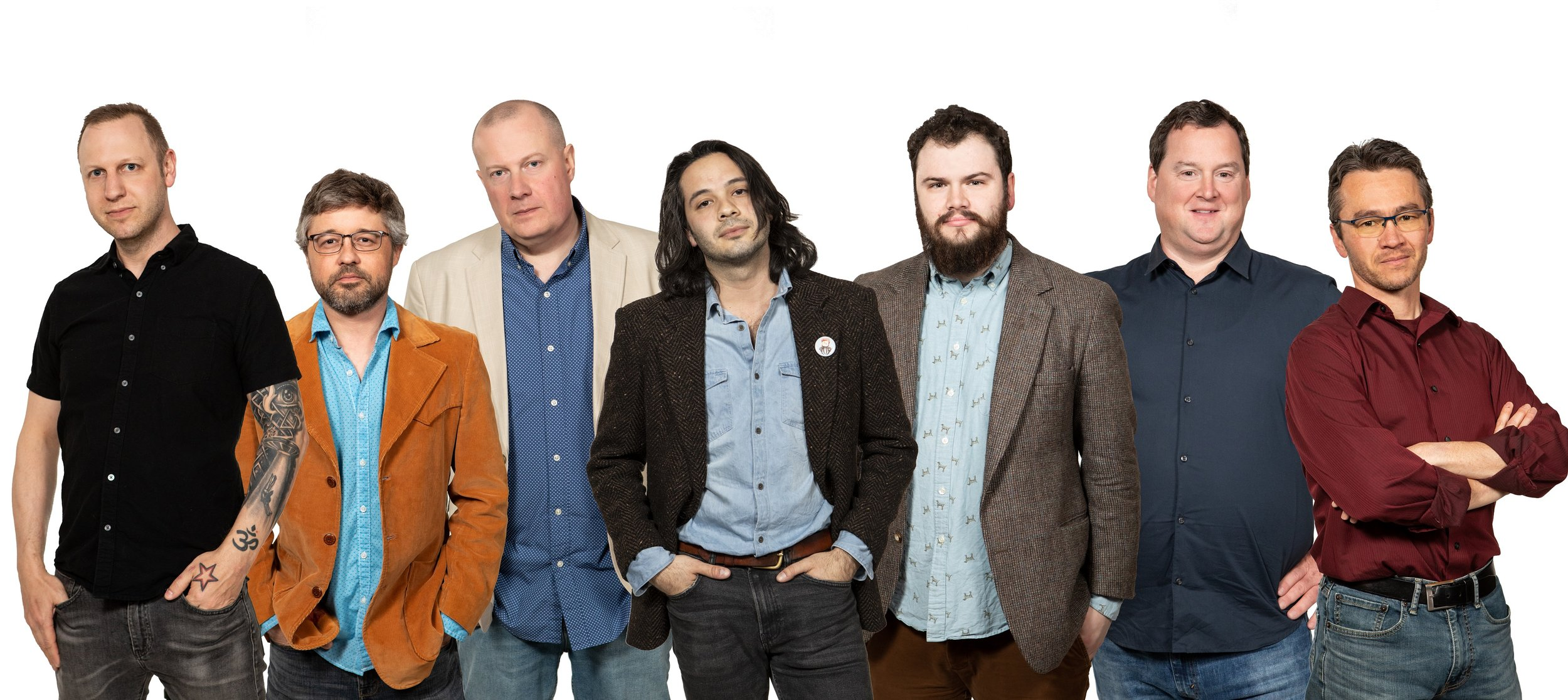 Rocking Horse Music Club 2019 (left to right): Eric Wagley, Brenden Harisaides, Brian Coombes, Patrik Gochez, Justin Cohn, Mike McAdam, and Myron Kibbee.