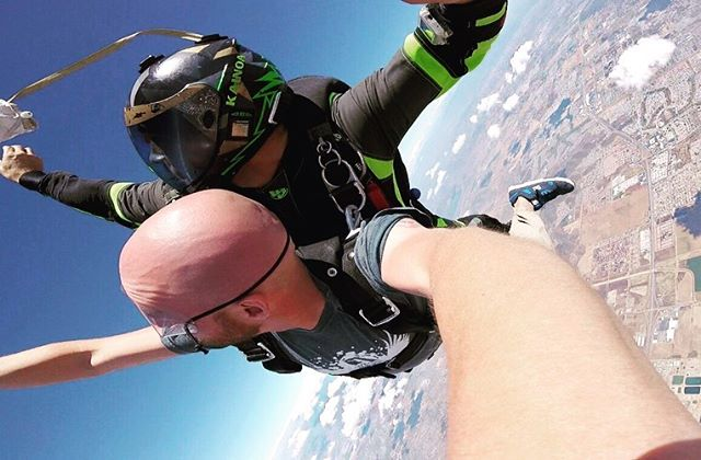 Its been a long road but I got it done. I am officially tandem rated! 🙌🏼🙌🏼 For those that dont know what that means. (Its ok most dont) I can now throw EVERYONE out of a working airplane attached to my chest. Im so excited. One of the best gifts I can give someone is the thrill of skydiving. Go ahead and DM me. Lets jump. No joke! DM me right now and lets go skydive. #skydiving #skydive #skydiveperris #liquadsky #kiss #memorialdayweekend #sky #summer special thanks to @shredcheddarson for having the balls to be my student passenger. And @uspacourses for putting on such a professional course.