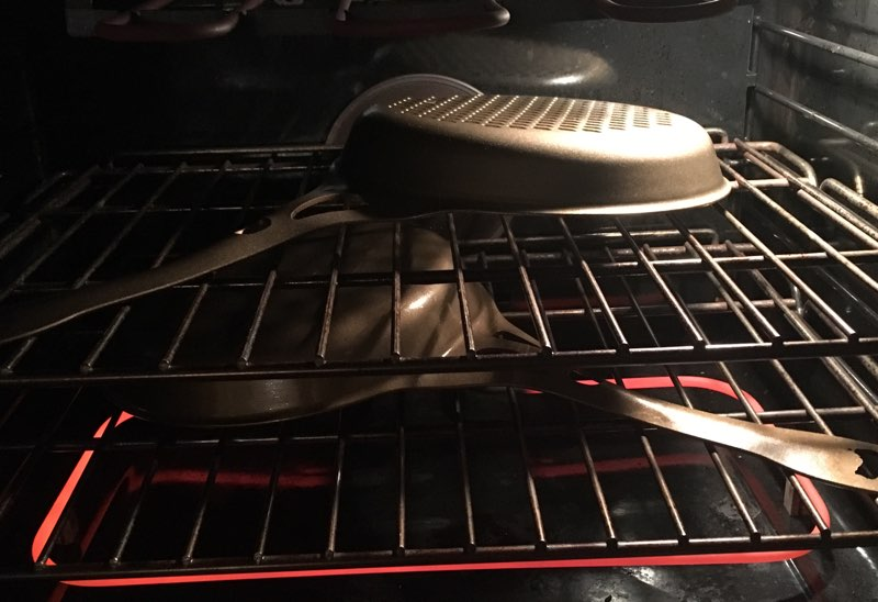 As per step 7 — Place skillet  upside down  in oven for 1.5 hours.