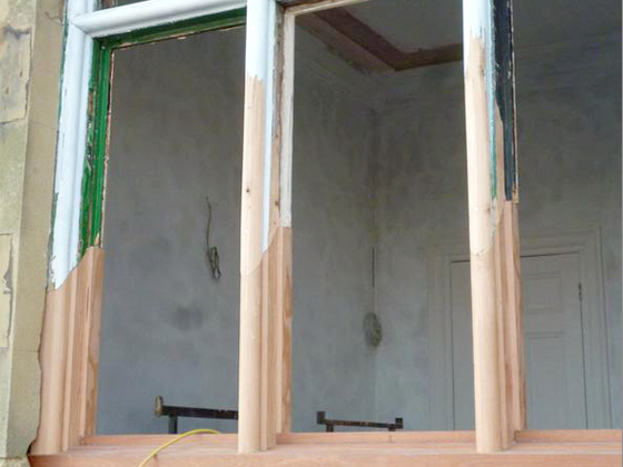 Repair detail, new window frame sections 'scarfed' to old using BC Pine.
