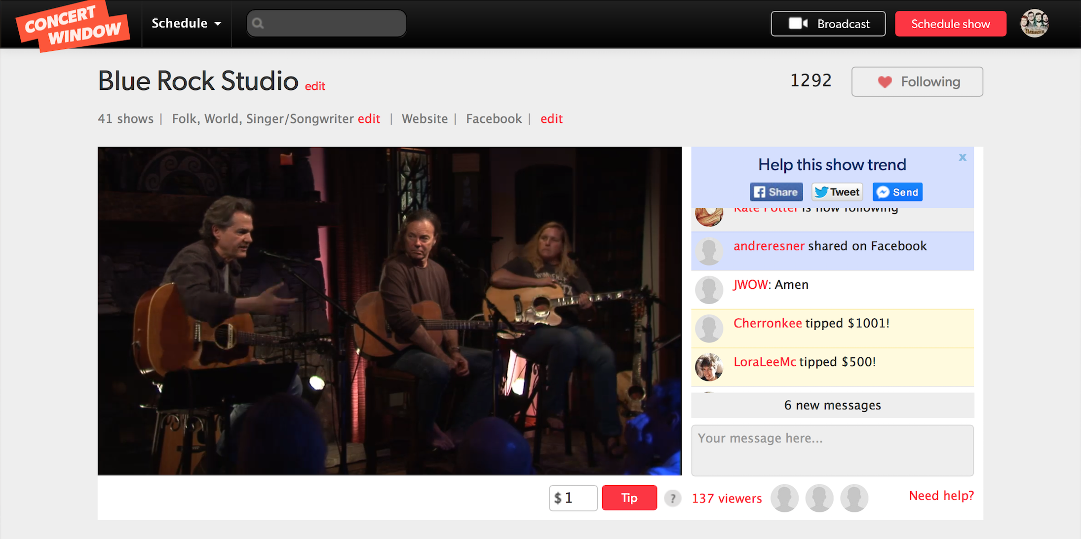 Live Show Interface -