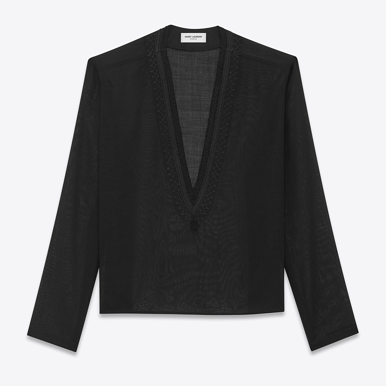 Saint Laurent Tunic With Ethnic Embroidered Neck In Black Wool Voile