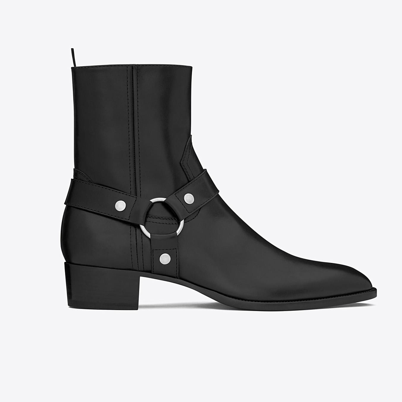 Saint Laurent Wyatt 40 Harness Boot In Black Leather
