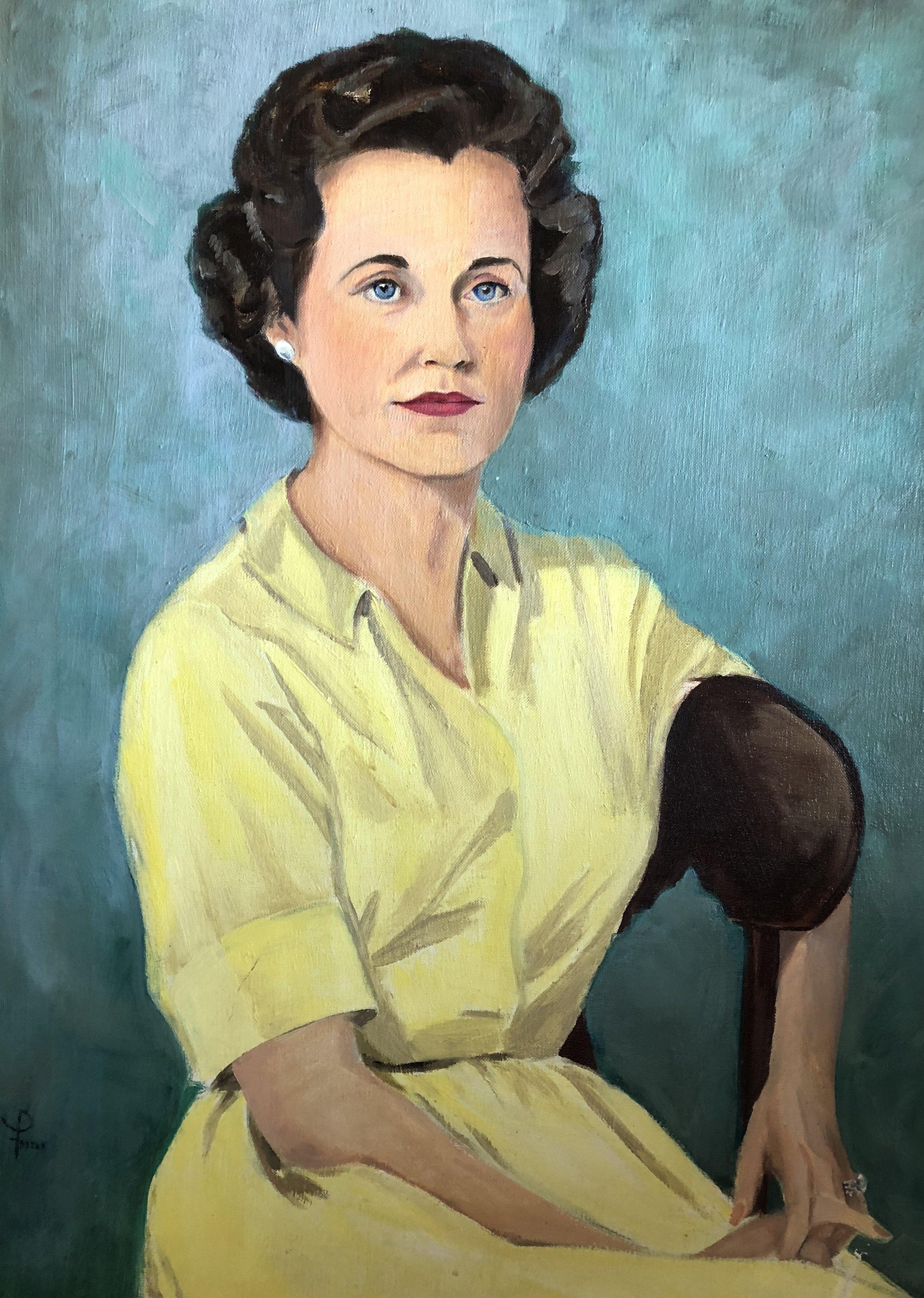 Nana, my paternal grandmother, painted by my maternal grandmother.