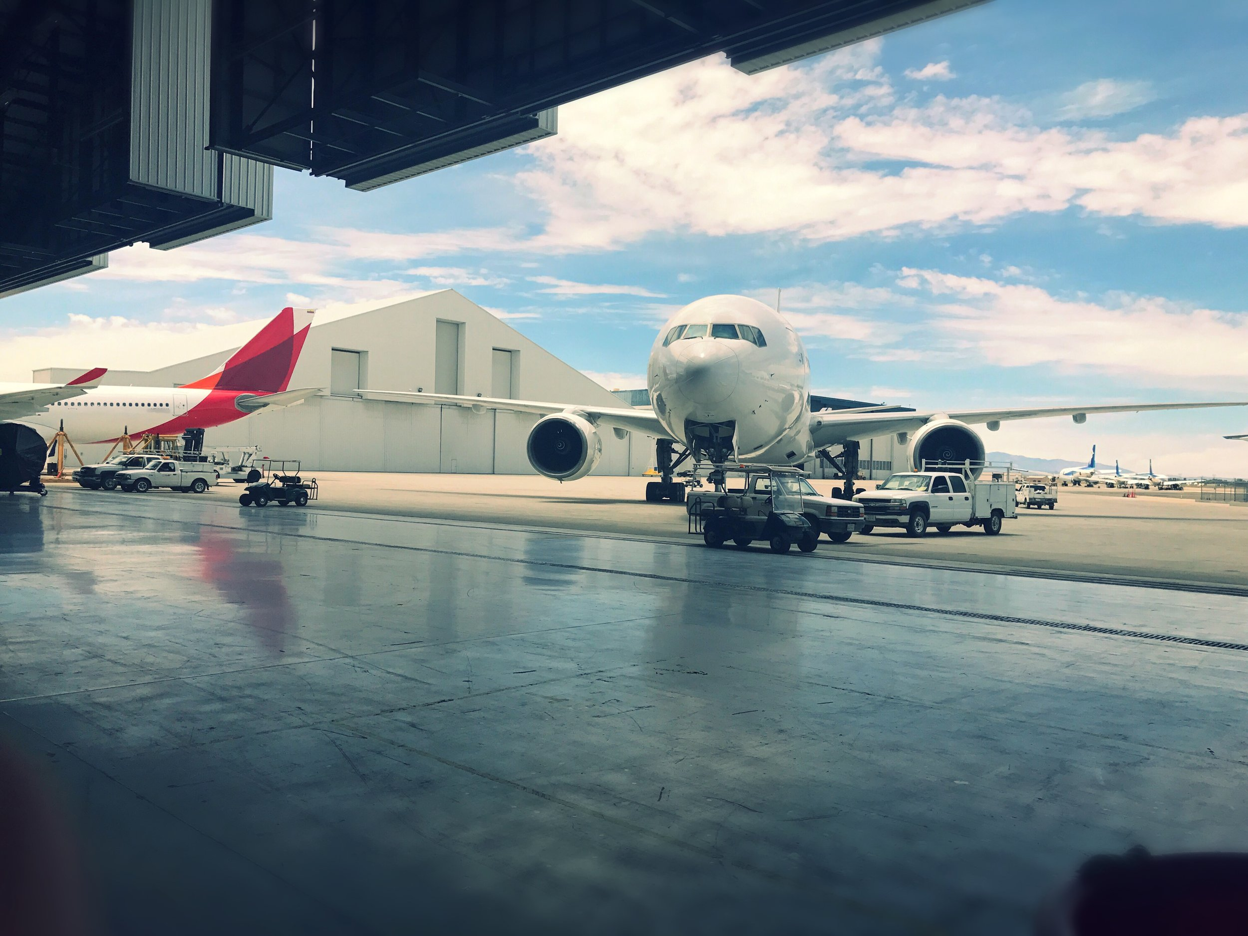 An aircraft sits right outside ComAv's wide body hangar used for long term maintenance programs