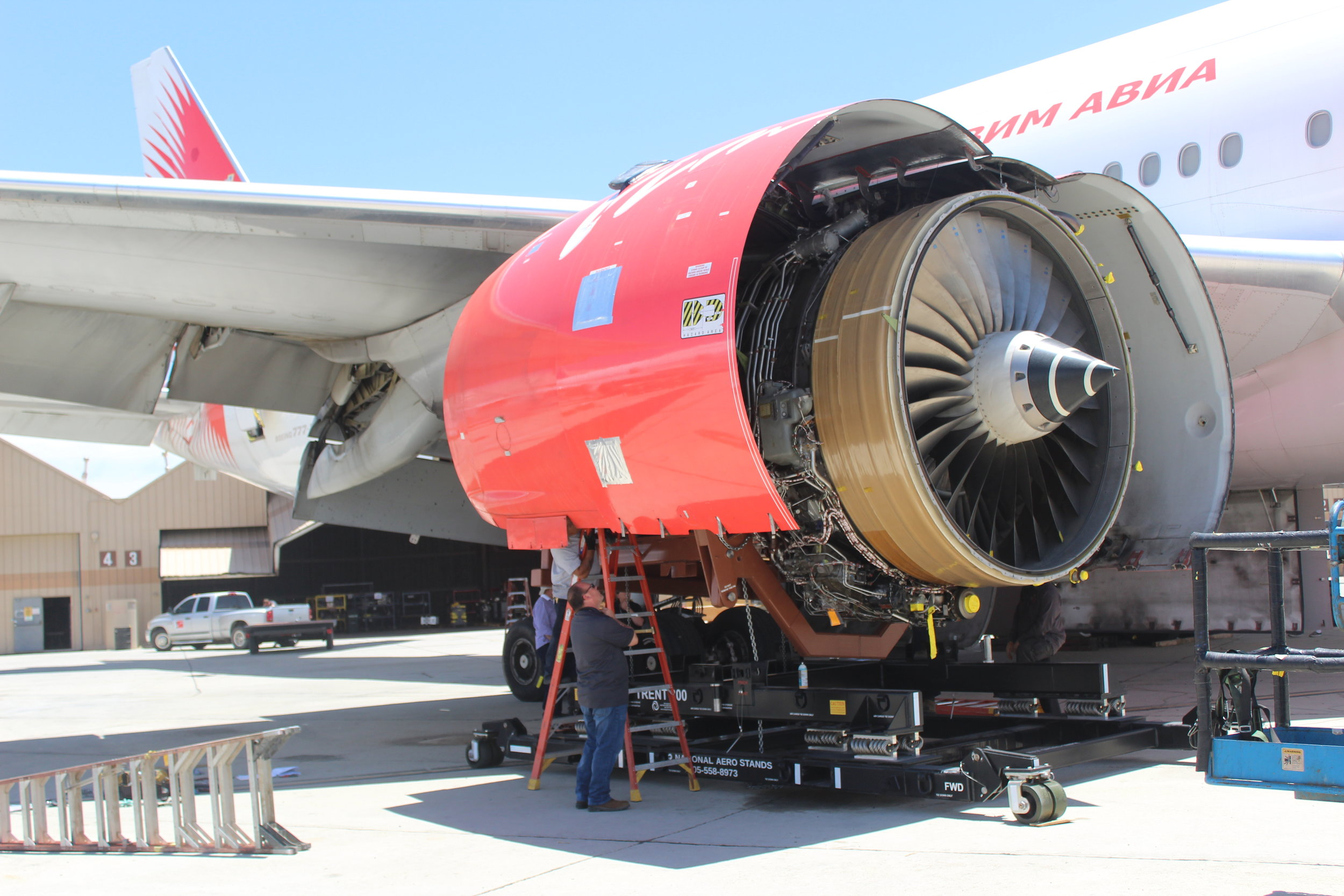 David Stringfellow, ComAv's Director of Maintenance, manages the engine removal on a newly acquired aircraft.