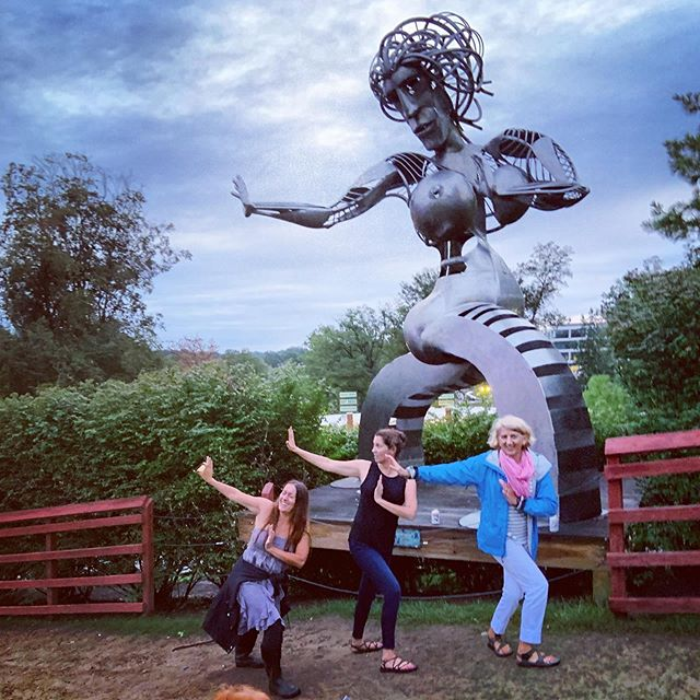 Very often I find myself in this pose...except not.  These ladies make me howl with laughter. Good for the soul & actually a decent stretch. 1/2 naked revolved heismann pose.  #toomuchfun #merriweatherpostpavilion #perfectpeaceyoga