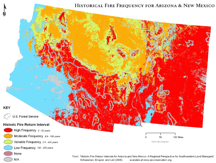Historical fire frequency for Arizona and New Mexico.