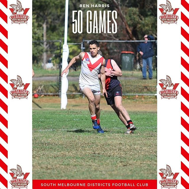 """Congratulations to Benny """"Harro"""" Harris for reaching 50 games with the South Melbourne Districts  In 2016, Harro returned to Melbourne after 4 years living in the remote mining town of Roxby Downs. He learnt his craft in the notoriously tough Far North Football League both on and off the field.  Working his way through the reserves in 2016 he quietly continued developing as a player breaking into the seniors in 2017.  An absolute animal over a 3km time trial, he is a vital fixture in the 1s as a run with player shutting down key opponents in South's 2019 season.  Always keen for several post-game Melbourne Bitters; a true asset to the club.  Best of luck in your 50th game Harro and looking forward to a few hard earned cold ones."""