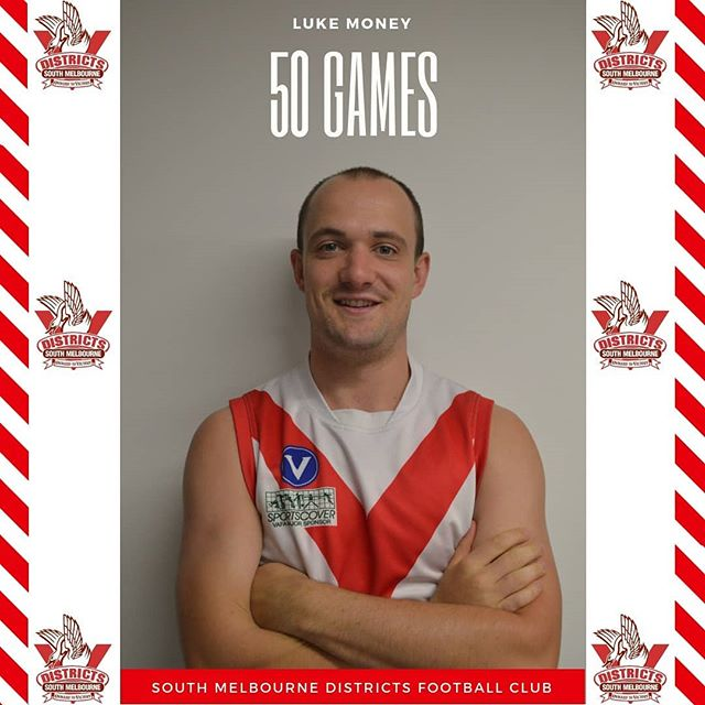 Congratulations to Luke 'bags' Money who has taken the long road but this week will bring up his 50th game at the districts.  A member of the senior leadership group and keeper of the fines, suited to a bloke whose name relates to the currency with which the fines are to be paid.  Luke is know for his passion for both the club and the performance of the team. In his role in the leadership group, he is not afraid to give the group constructive criticism with a good degree of vigour.  Luke joined the club in 2016 but has been plagued by injury in his time at the Districts. An uncanny knack of attracting an injury in most year that has seen him miss blocks of 5 or 6 games in each season he has played. We wish him the best this weekend and a speedier next 50 at the club.