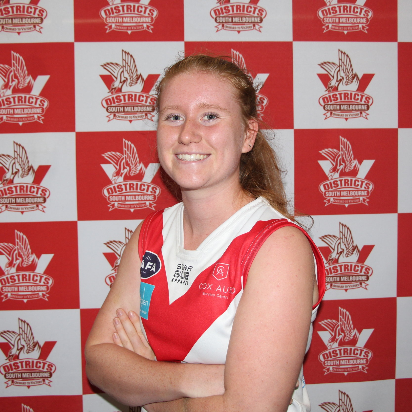 Sophie H  One of our youngest new recruits is super speedy Sophie who is wearing the #40 jumper for her first season of footy. It'll come as no shock to anyone who has seen Soph run that she made Team Vic for cross country in the not so distant past and she brings that speed to our wing on a weekly basis. Soph is a seasoned soccer player having spent many seasons playing with our very own Maya- thanks Maya for bringing her down.