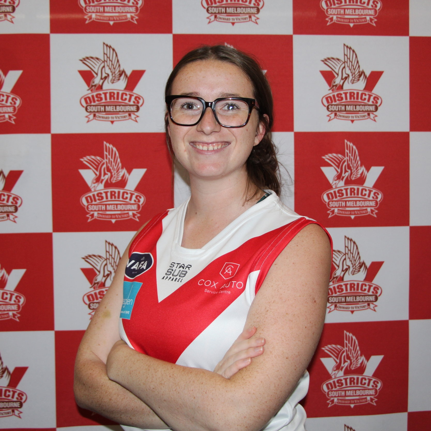 Clare  2019 sees a new face in the #47 jumper in the shape of our Scottish unicorn Clare! She is a graduate of the SMDFC skills academy at the end of 2018 and has taken those skills into the Half Forward/ Ruck positions with enthusiasm. Clare is also a netballer with high accolades of being Premiers in '06, '07' and '08! Away from sport Clare has a slightly blemished past… cops got called to her house for reported mooning at cars on the street, they arrived to find the culprit- an 8 year old Clare. Let's hope she doesn't adopt that as a goal celebration!