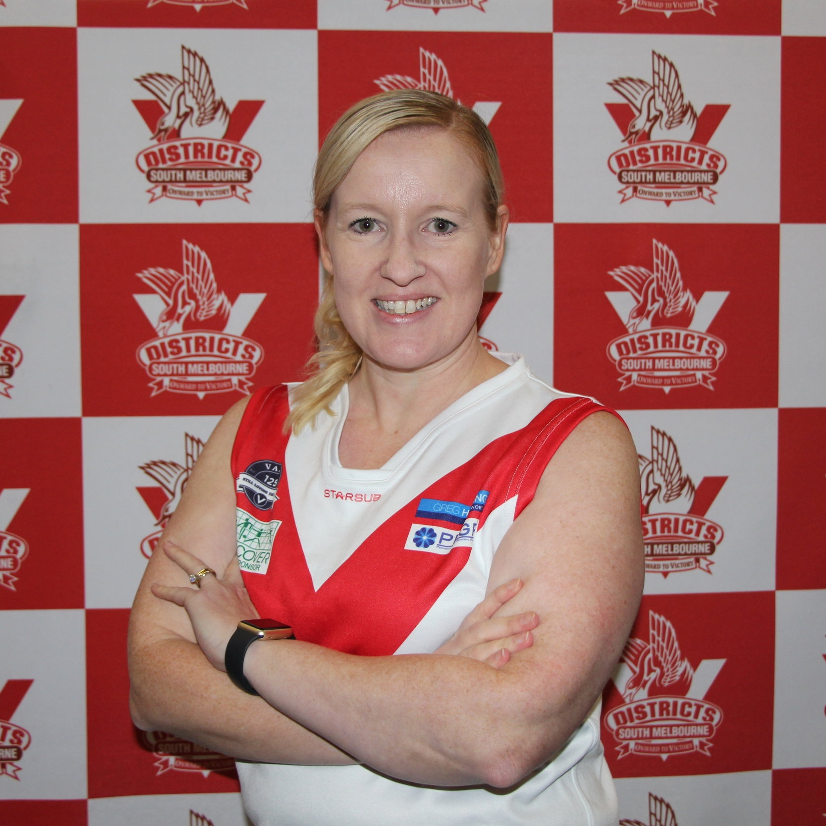 Ange  Ange has a long history with footy having been one of the first female's to regularly boundary umpire country footy in Victoria- she has now come over to the over side of the boundary and has joined the Bloods wearing #49. Away from the oval Ange is a lawyer and mum to 2 Auskickers! When not up to her neck in footy you'll find Ange binge watching Netflix with her family whilst eating chocolate!