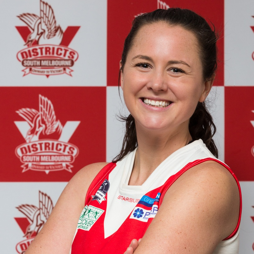 Maddy  Maddy is bringing some Netball 'pizazz' to the #7 Guernsey this season. Her sporting accolades include storming to win the Under 6 discus Brighton Little Athletics Club; starting as she means to go on with footy this season- flying! Maddy can be found in either centre back or half back flank positions mid-game, never to be lost with her mighty vocal chords. If you ever need a reason to butter her up a Disney adventure or theme park day out with brunch will have Maddy in raptures.