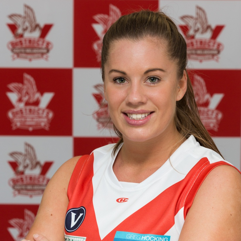 Roey  Roey, our very own Big Sexy, joined the Bloods for the 2018 season and returns this year wearing the jumper #9. Roey is another expat on the team and proving that she can ruck as well as any Aussie born and bred. Roey, randomly, has a very small share in three race horses even though she admits that they never win! If you're looking for Roey you'll find her tearing up the cycle lanes of Melbourne on her bike.
