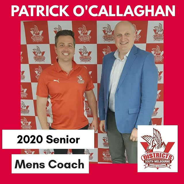 South Melbourne District Senior Football is pleased to be able to announce that Patrick O'Callaghan has been appointed to the role of Senior Mens Coach from the 2020 season.  Pat steps up from his role as Senior assistant he has held for the past two seasons. He beat out other candidates based on his passion for the club, the vision he has for the playing group, his game plan, and his desire to help the younger players develop into top senior footballers.  He shares the committees belief that anything is possible for the Senior Men's team, Reserves and U/19's and looks forward to working with the playing group to progress the club forward, starting with pre-season training commencing mid-November.  #smdfc @vafahq
