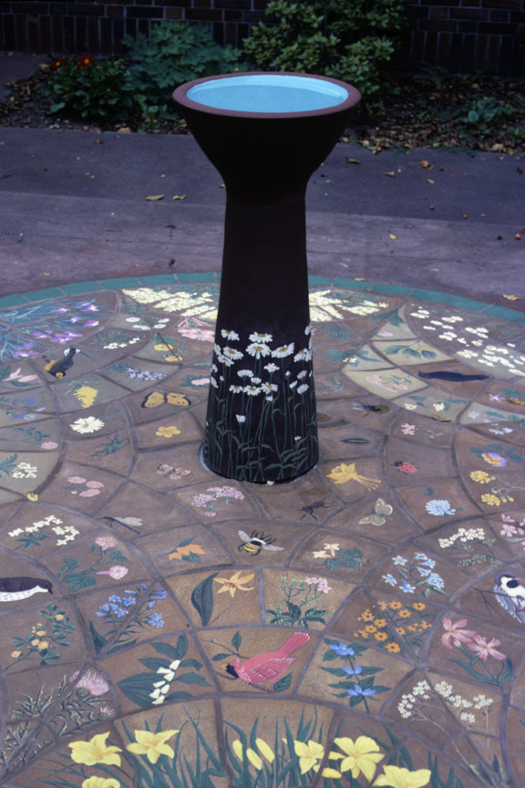 Painted bird bath by Carrie Anne