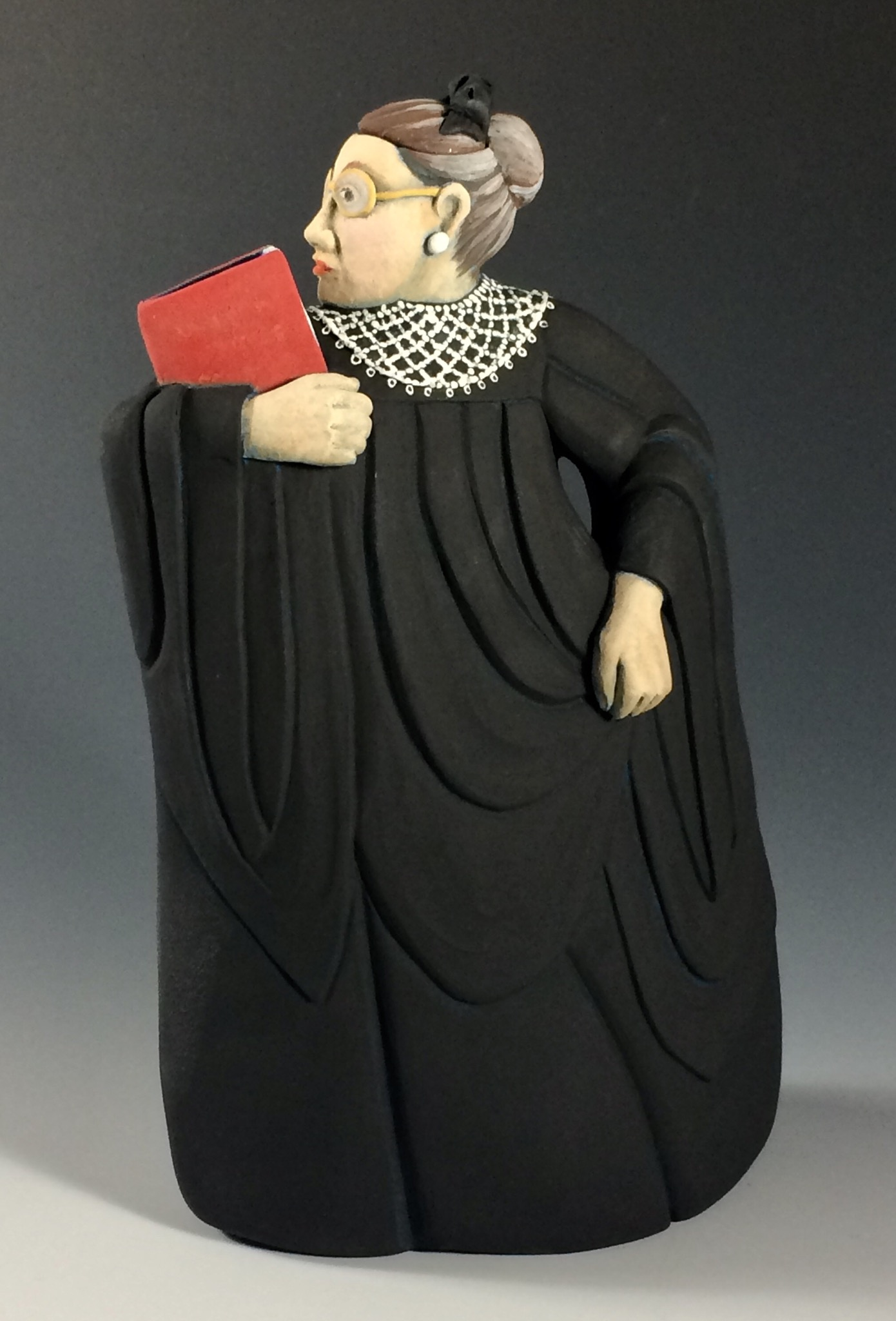 A Ruth Bader-Ginsburg teapot that Carrie Anne Parks created from handbuilding techniques.